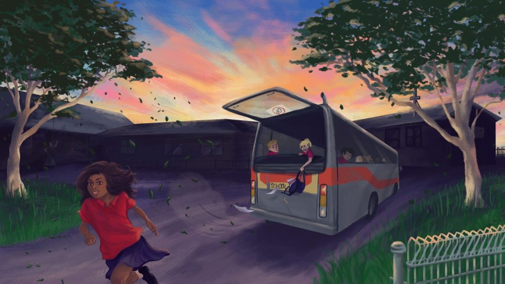 An illustration showing a young girl with brown skin and a smile on her face running away from a school bus with an open back window. There are other kids in the bus watching her, and gum trees to either side. In the background is a school building with a cross on the roof, and a beautiful multicoloured sky.